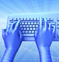computer generated illustration of blue hands on a blue keyboard