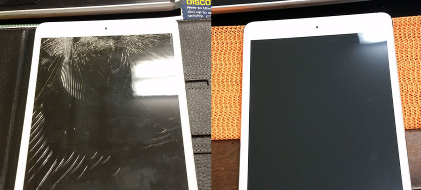 Cracked tablet screen before and after SaberTech Systems' repair services